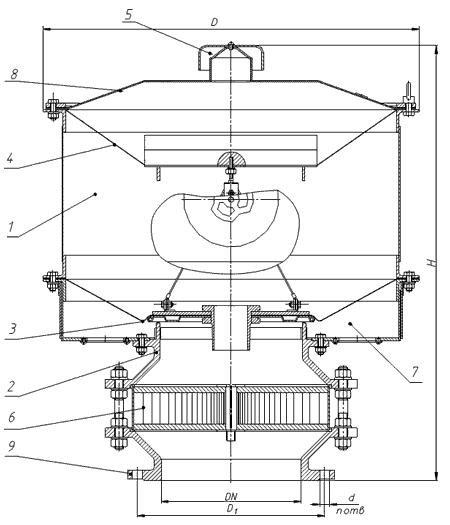 Чертеж клапан непримерзающий дыхательный мембранный НДКМ