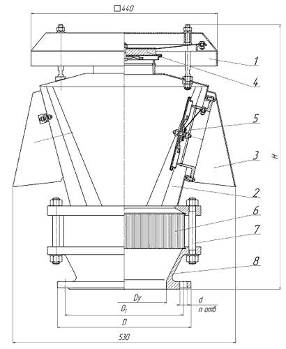 Чертеж клапана дыхательного КДМ–150