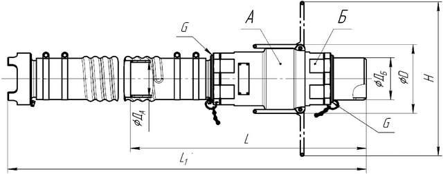 Внешний вид и габаритные размеры муфт быстрого разъема МБР1-75