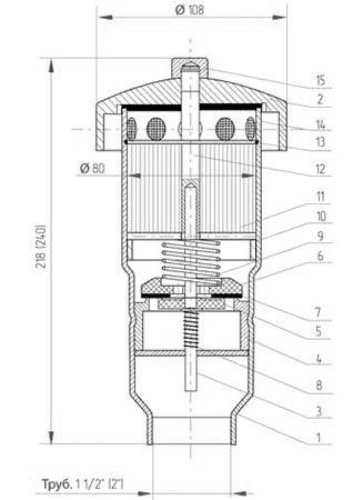 Клапан дыхательный дыхательный совмещенный предохранительный с огнепреградителем