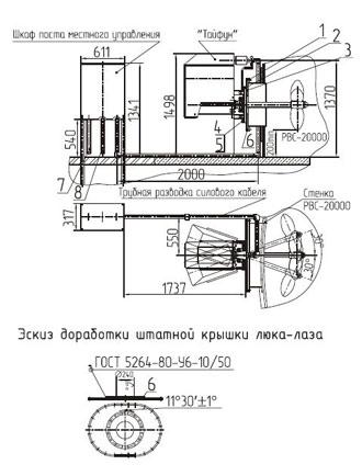 Рис. 2. Схема монтажа устройства «Тайфун» на крышку люка-лаза резервуара вертикального стального (РВС-20000)