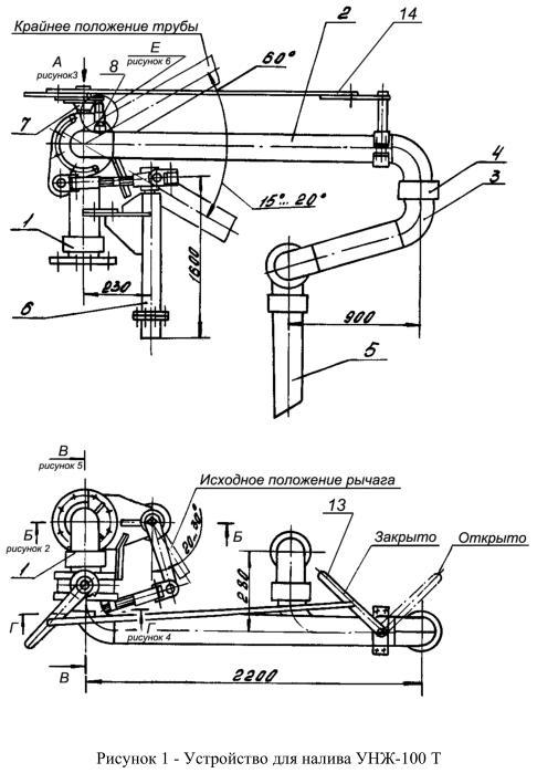 Чертеж устройства налива УНЖ-100 Т